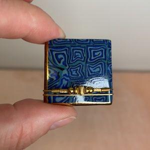Handmade Blue Swirl Contemporary Pin